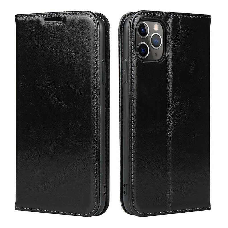 wholesale For iPhone 11 Pro Max Luxury Slim Leather Flip Wallet Card Slot Case Cover - Black