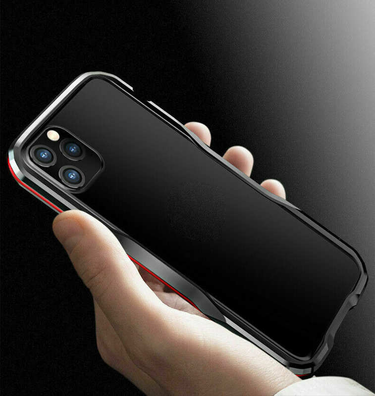 discount For iphone 11 Pro Max Metal Bumper Aluminum Hard Case Cover - Black&Red
