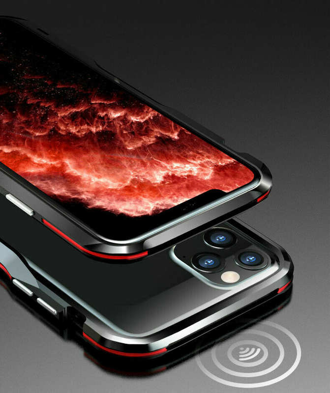 cheap For iphone 11 Pro Max Metal Bumper Aluminum Hard Case Cover - Black&Red