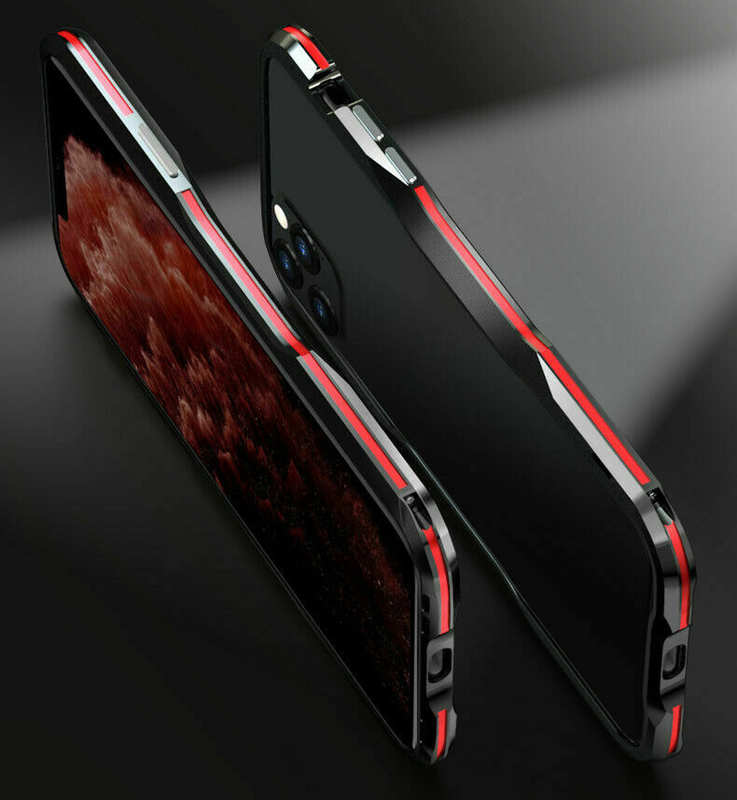 on sale For iphone 11 Pro Max Metal Bumper Aluminum Hard Case Cover - Black&Red