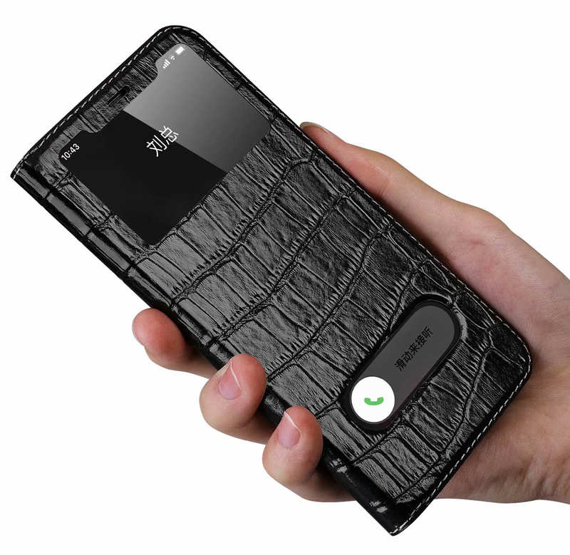 discount For iPhone 11 Pro Max Smart Crocodile Leather Windows Flip Case Cover - Black