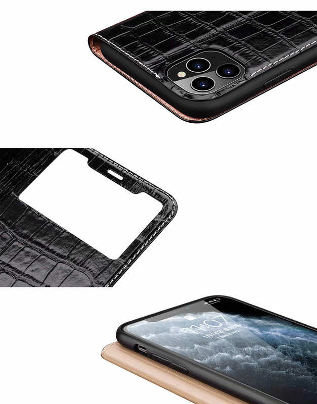best price For iPhone 11 Pro Max Smart Crocodile Leather Windows Flip Case Cover - Black