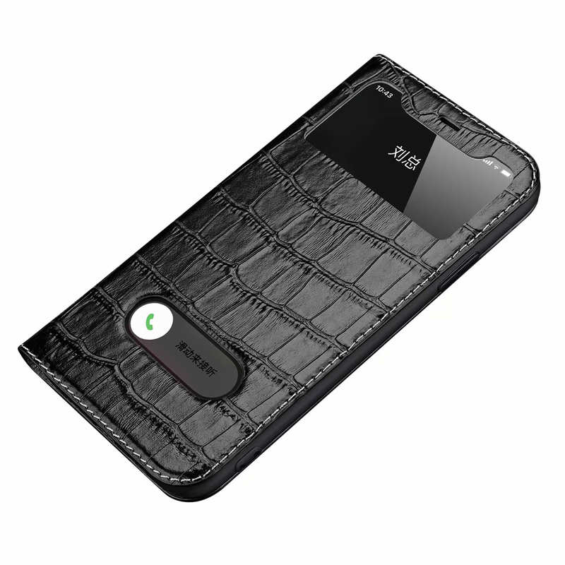 wholesale For iPhone 11 Pro Max Smart Crocodile Leather Windows Flip Case Cover - Black