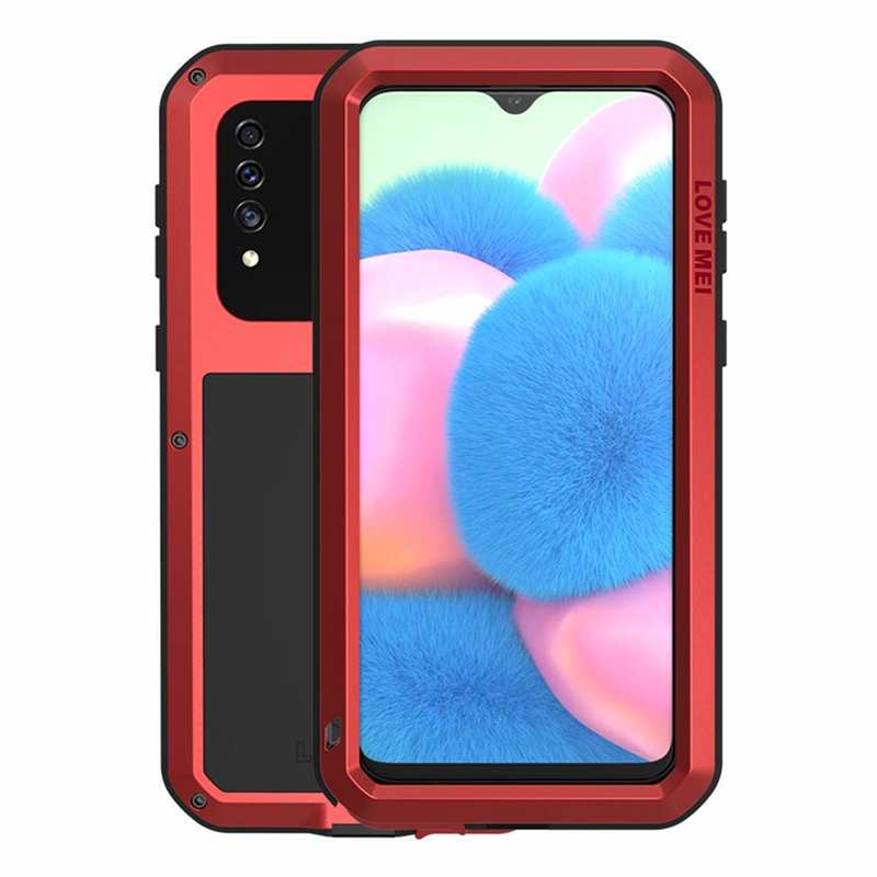 wholesale For Samsung Galaxy A30S LOVE MEI Gorilla Glass Waterproof Metal Case Cover - Red