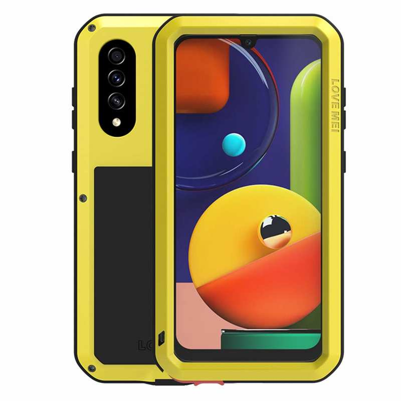 wholesale For Samsung Galaxy Note20 Ultra 5G LOVE MEI Gorilla Glass Waterproof Shockproof Metal Case Cover - Yellow