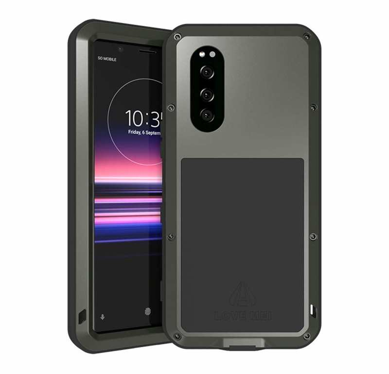 wholesale For Sony Xperia 5 LOVE MEI Gorilla Glass Waterproof Metal Case Cover - Black