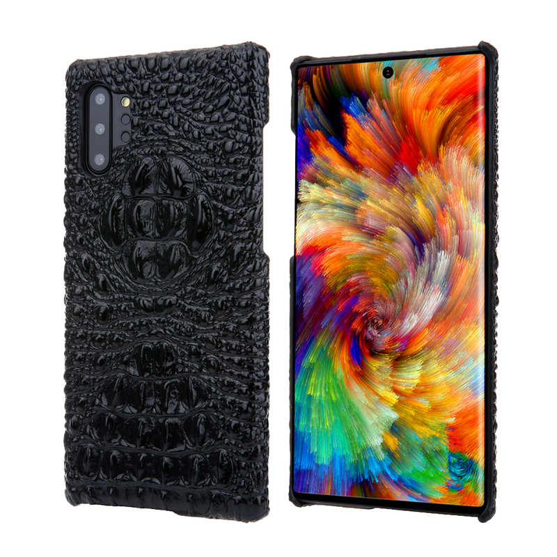 wholesale Genuine 3D Crocodile Leather Case Cover for Samsung Galaxy Note 10 + / 10 - Black