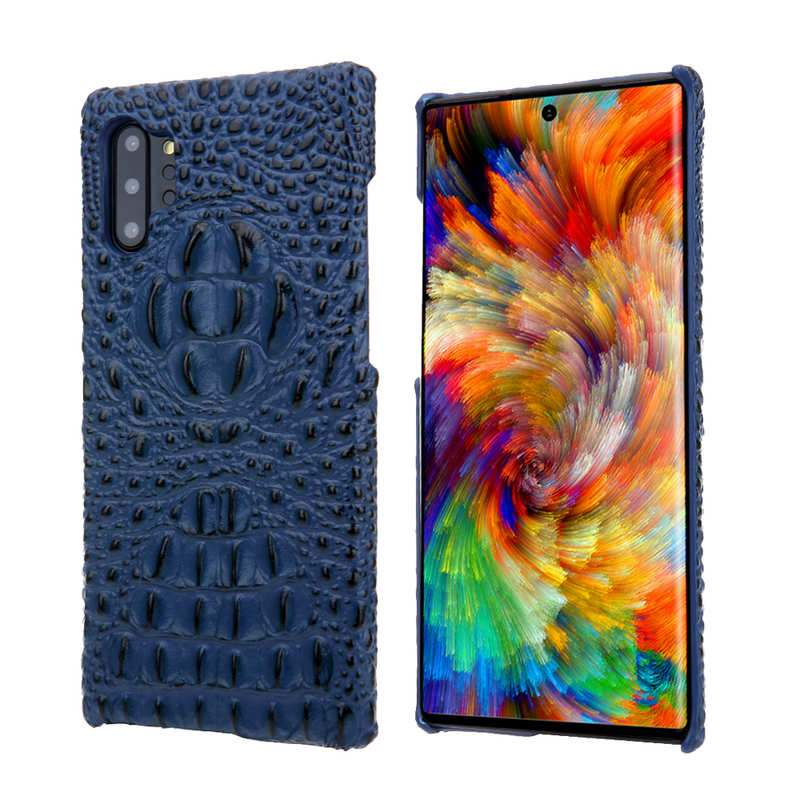 wholesale Genuine 3D Crocodile Leather Case Cover for Samsung Galaxy Note 10 + / 10 - Navy Blue