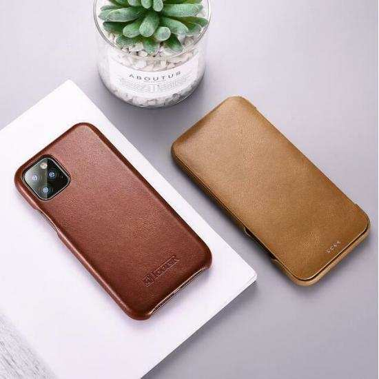 cheap ICARER Cowhide Genuine Leather Case Cover For Apple iPhone 11 Pro Max