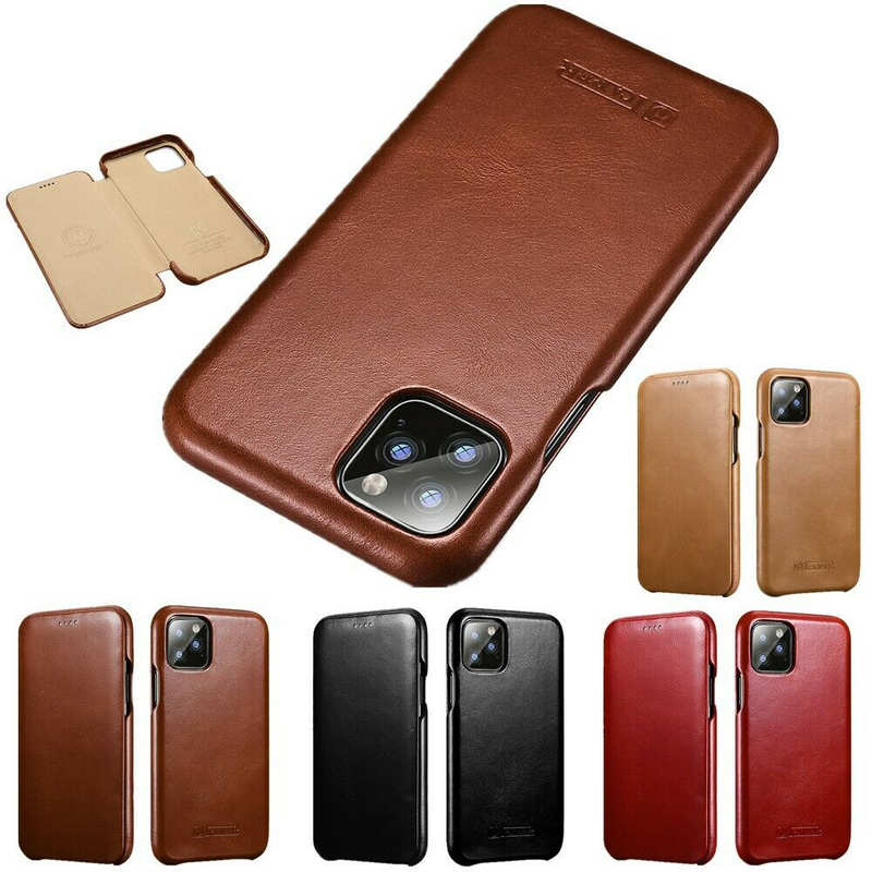 wholesale ICARER Curved Edge Genuine Real Cowhide Leather Flip Phone Cover Case For iPhone 11 6.1inch