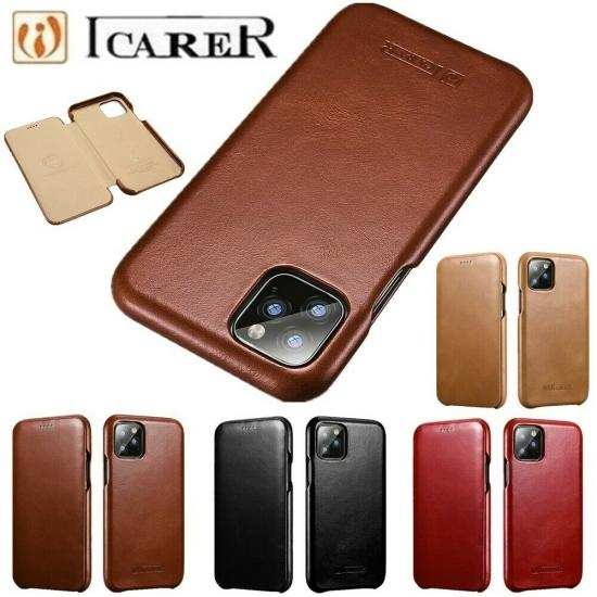 discount ICARER Curved Edge Genuine Real Cowhide Leather Flip Phone Cover Case For iPhone 11 6.1inch