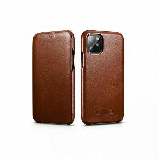 top quality ICARER Curved Edge Genuine Real Cowhide Leather Flip Phone Cover Case For iPhone 11 6.1inch