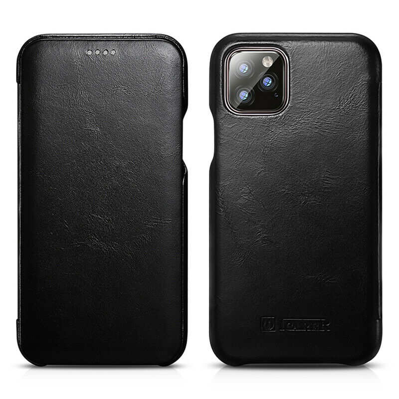 discount ICARER Curved Edge Vintage Genuine Leather Folio Case For iPhone 11 Pro - Black