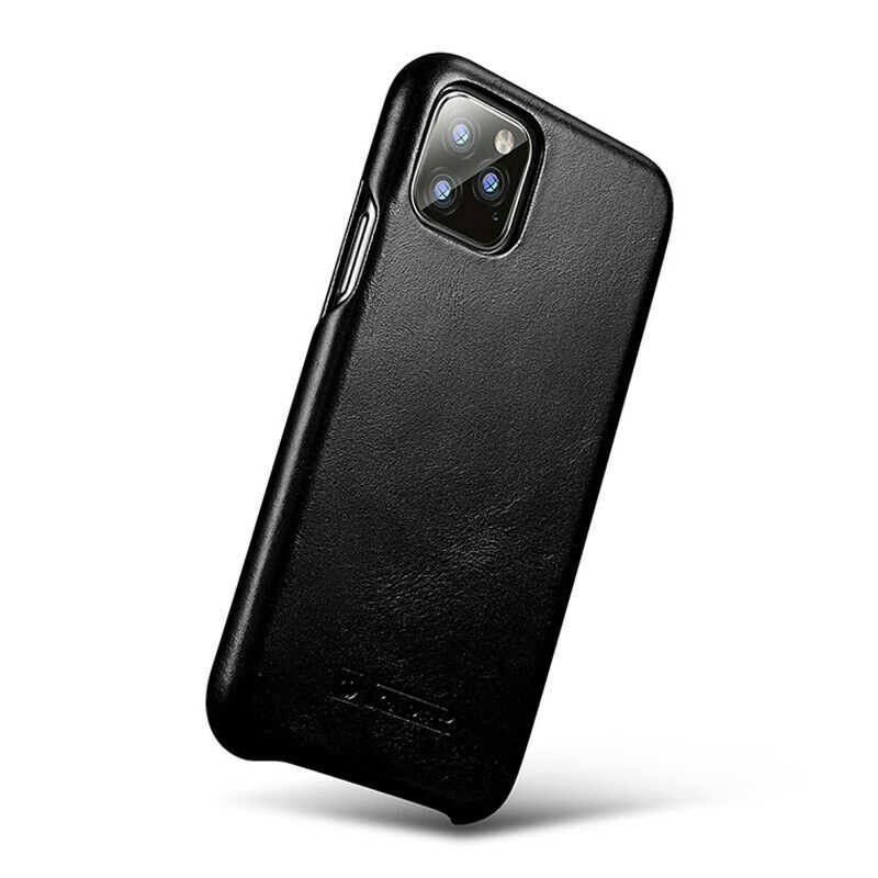 top quality ICARER Curved Edge Vintage Genuine Leather Folio Case For iPhone 11 Pro - Black