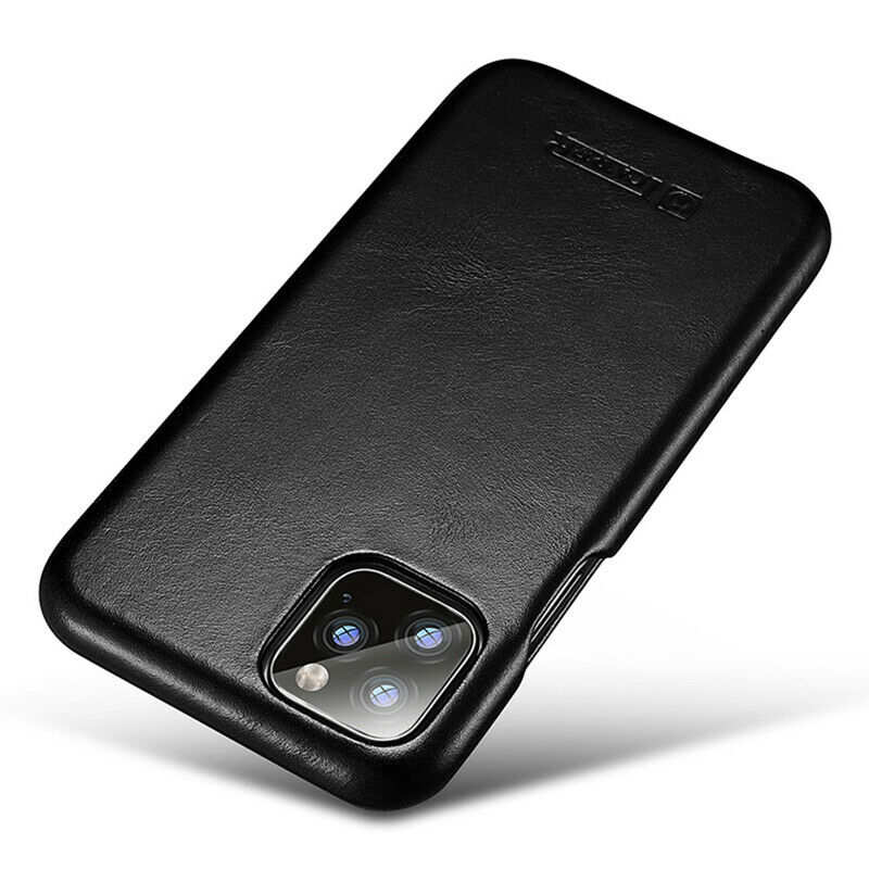 best price ICARER Curved Edge Vintage Genuine Leather Folio Case For iPhone 11 Pro - Black