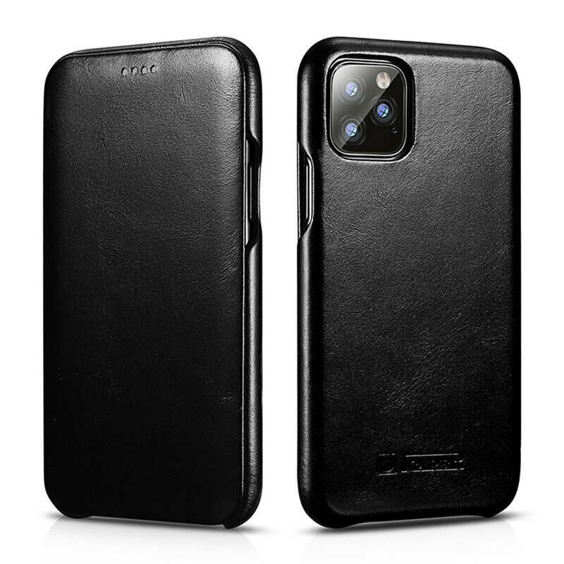 wholesale ICARER Curved Edge Vintage Genuine Leather Folio Case For iPhone 11 Pro - Black