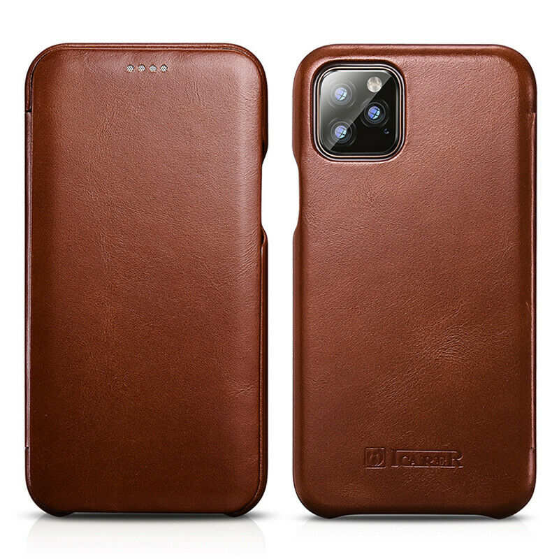 discount ICARER Curved Edge Vintage Genuine Leather Folio Case For iPhone 11 Pro - Brown