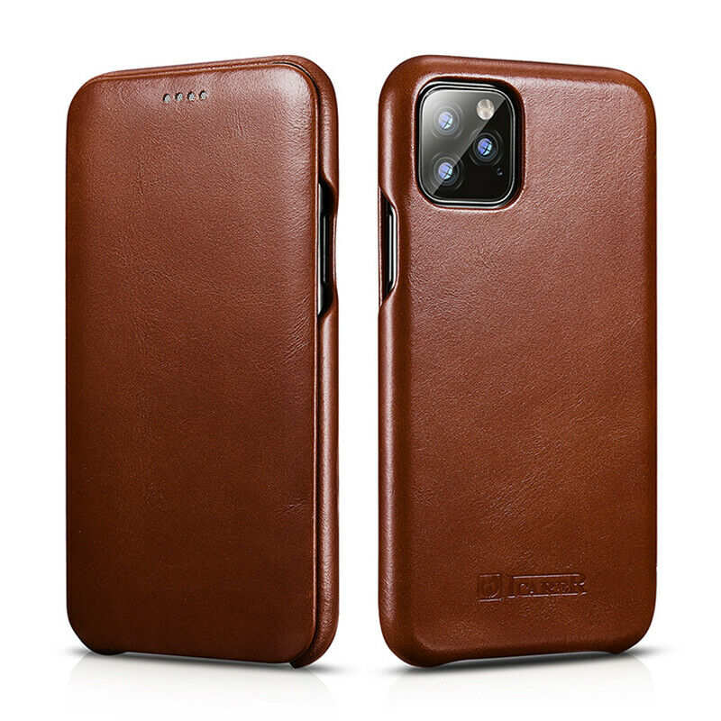 wholesale ICARER Curved Edge Vintage Genuine Leather Folio Case For iPhone 11 Pro - Brown