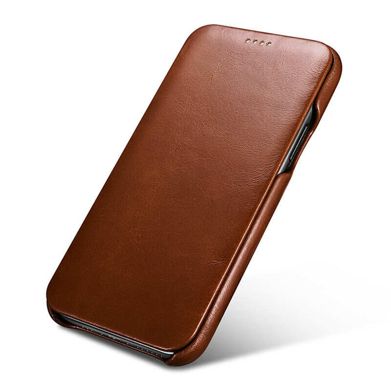 cheap ICARER Curved Edge Vintage Genuine Leather Folio Case For iPhone 11 Pro - Brown