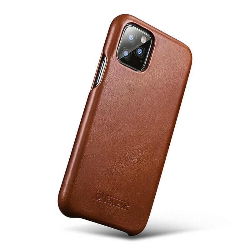 top quality ICARER Curved Edge Vintage Genuine Leather Folio Case For iPhone 11 Pro - Brown