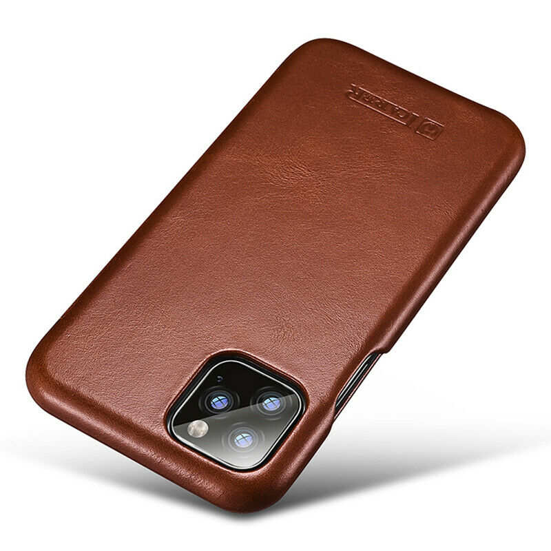 best price ICARER Curved Edge Vintage Genuine Leather Folio Case For iPhone 11 Pro - Brown