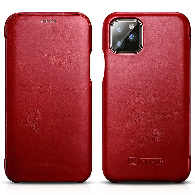 discount ICARER Curved Edge Vintage Genuine Leather Folio Case For iPhone 11 Pro - Red