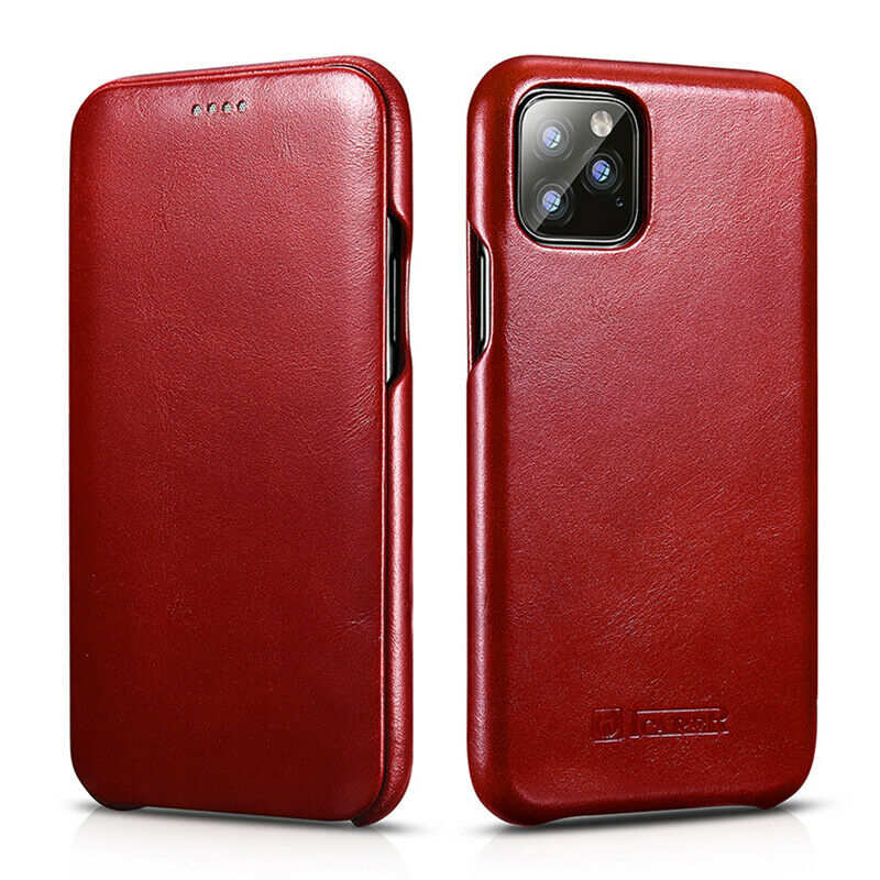 wholesale ICARER Curved Edge Vintage Genuine Leather Folio Case For iPhone 11 Pro - Red