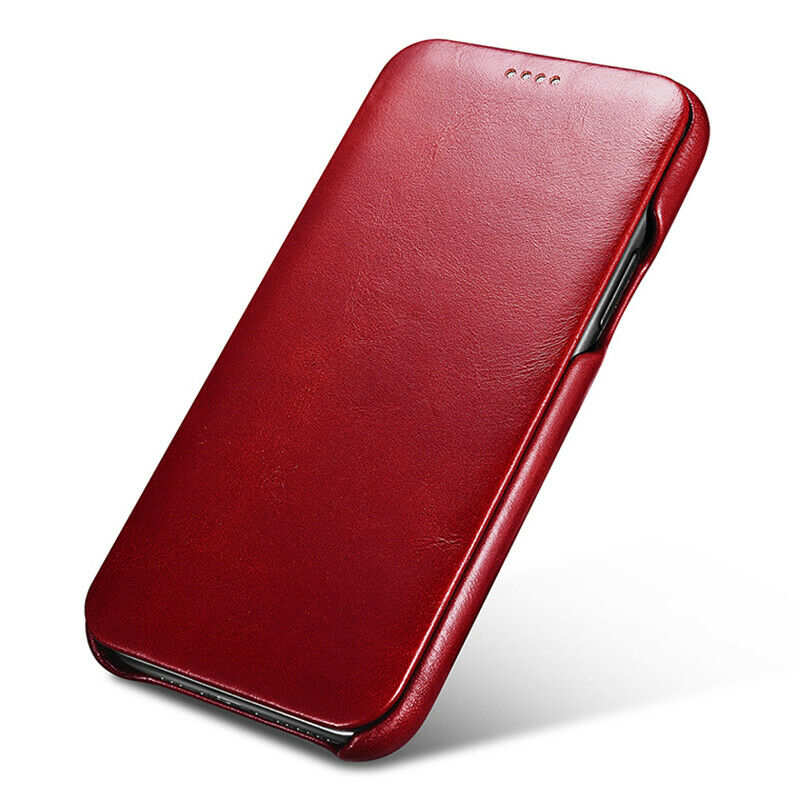 cheap ICARER Curved Edge Vintage Genuine Leather Folio Case For iPhone 11 Pro - Red