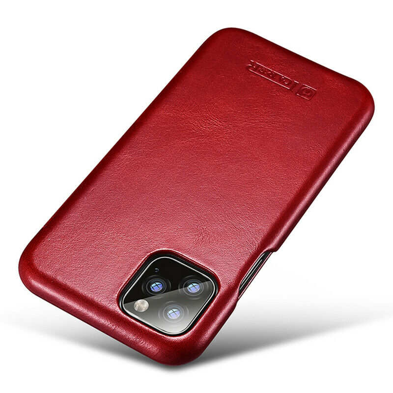 best price ICARER Curved Edge Vintage Genuine Leather Folio Case For iPhone 11 Pro - Red