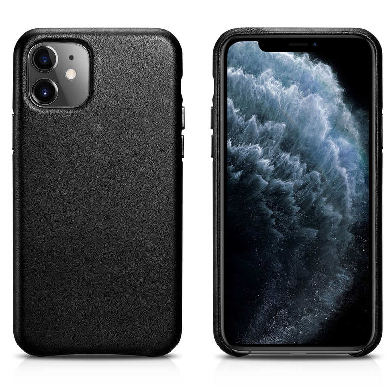 wholesale ICARER Real Genuine Leather Back Cover For iPhone 11 Pro - Black