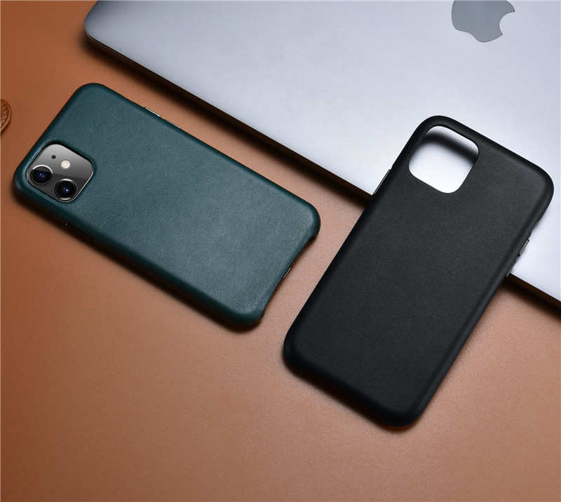 best price ICARER Real Genuine Leather Back Cover For iPhone 11 Pro - Black