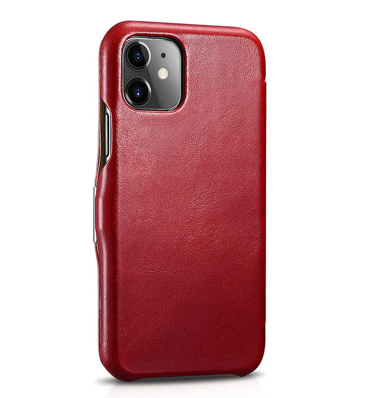 discount ICARER Vintage Genuine Leather Side Magnetic Flip Case for iPhone 11 Pro MaX - Red