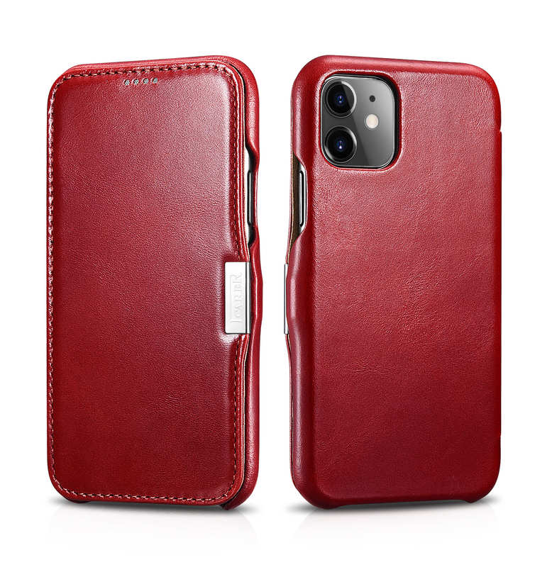 wholesale ICARER Vintage Genuine Leather Side Magnetic Flip Case for iPhone 11 Pro MaX - Red