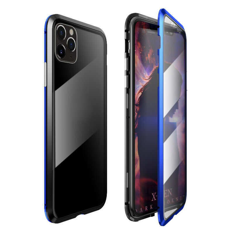 wholesale Magnetic Absorption Double Side Tempered Glass Metal Case Cover For iPhone 11 Pro - Black&Blue
