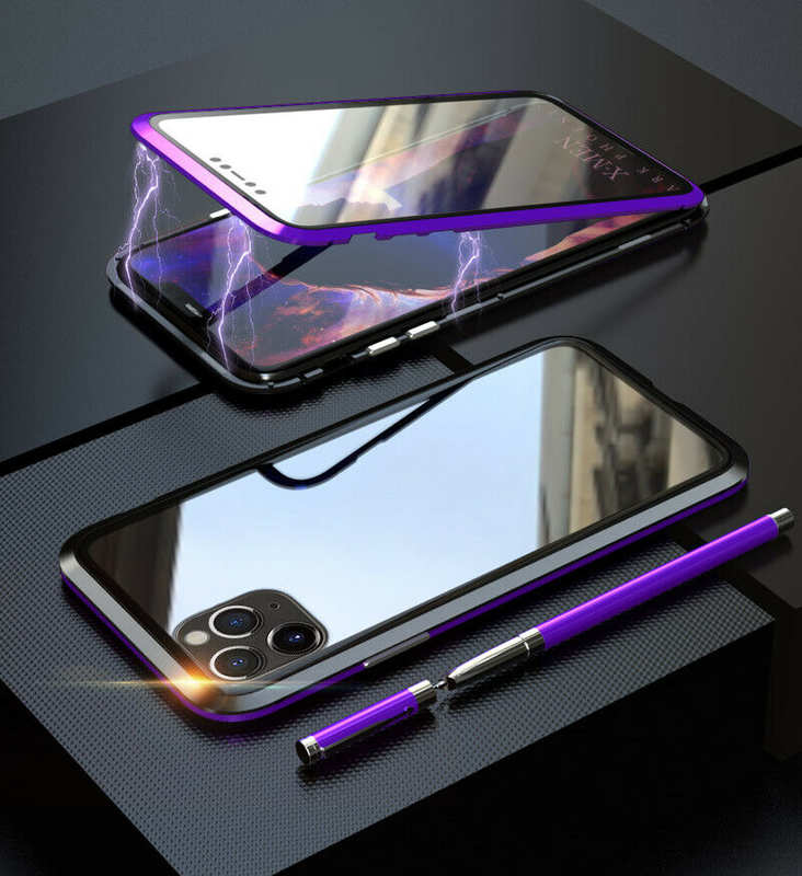 discount Magnetic Absorption Double Side Tempered Glass Metal Case Cover For iPhone 11 Pro - Black&Purple