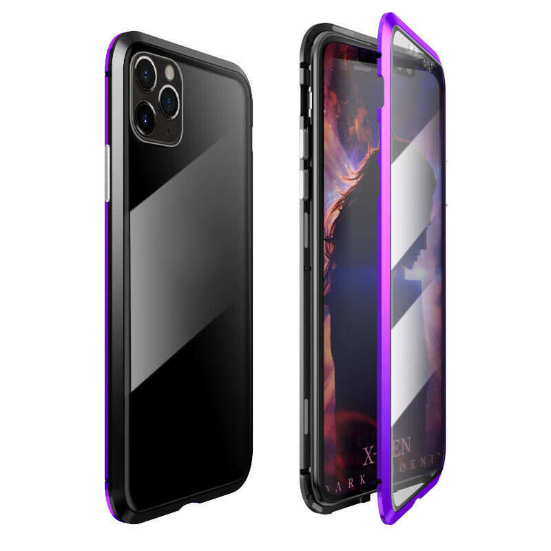 wholesale Magnetic Absorption Double Side Tempered Glass Metal Case Cover For iPhone 11 Pro - Black&Purple