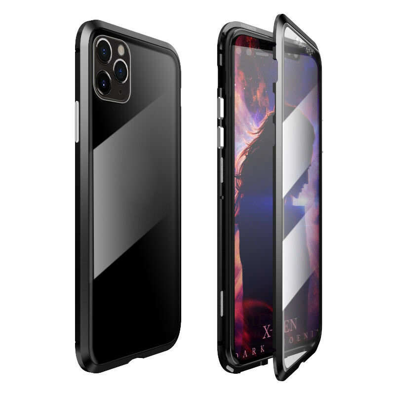 wholesale Magnetic Absorption Double Side Tempered Glass Metal Case Cover For iPhone 11 Pro - Black