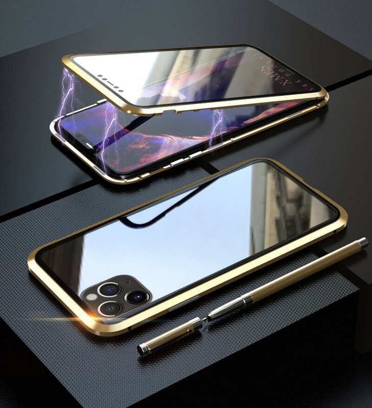 discount Magnetic Absorption Double Side Tempered Glass Metal Case Cover For iPhone 11 Pro - Gold
