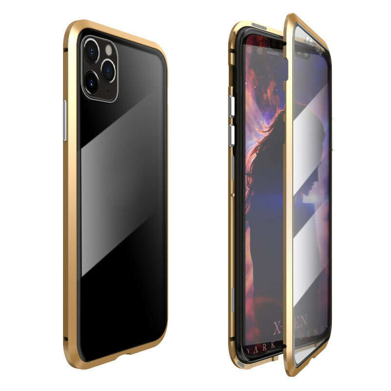 wholesale Magnetic Absorption Double Side Tempered Glass Metal Case Cover For iPhone 11 Pro - Gold