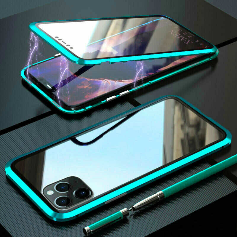 wholesale Magnetic Absorption Double Side Tempered Glass Metal Case Cover For iPhone 11 Pro - Light Green