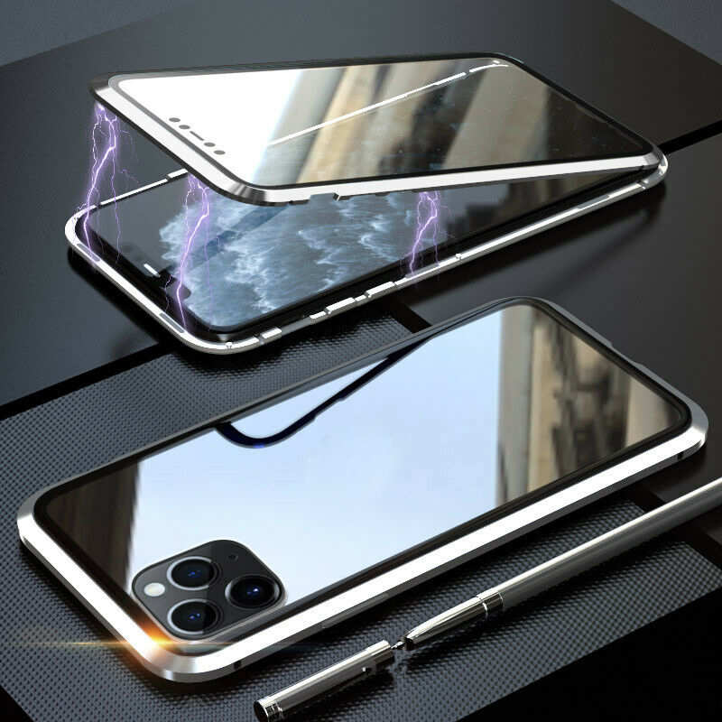 wholesale Magnetic Absorption Double Side Tempered Glass Metal Case Cover For iPhone 11 Pro - Silver