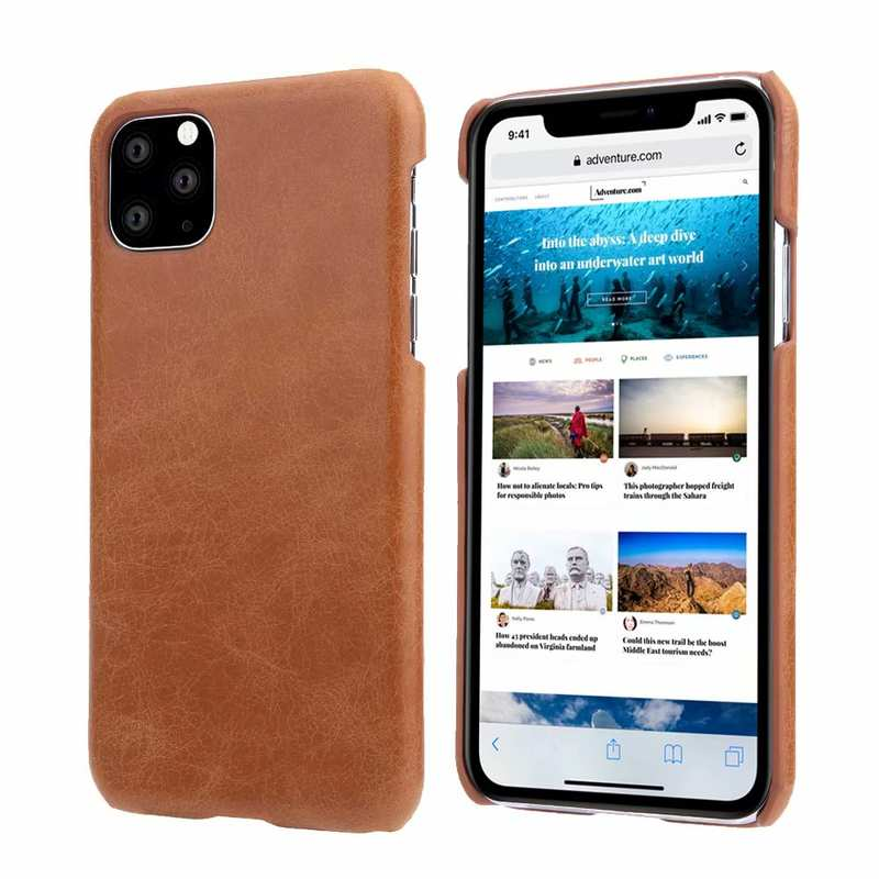 wholesale Matte Genuine Leather Back Case Cover for iPhone 11 Pro Max - Brown
