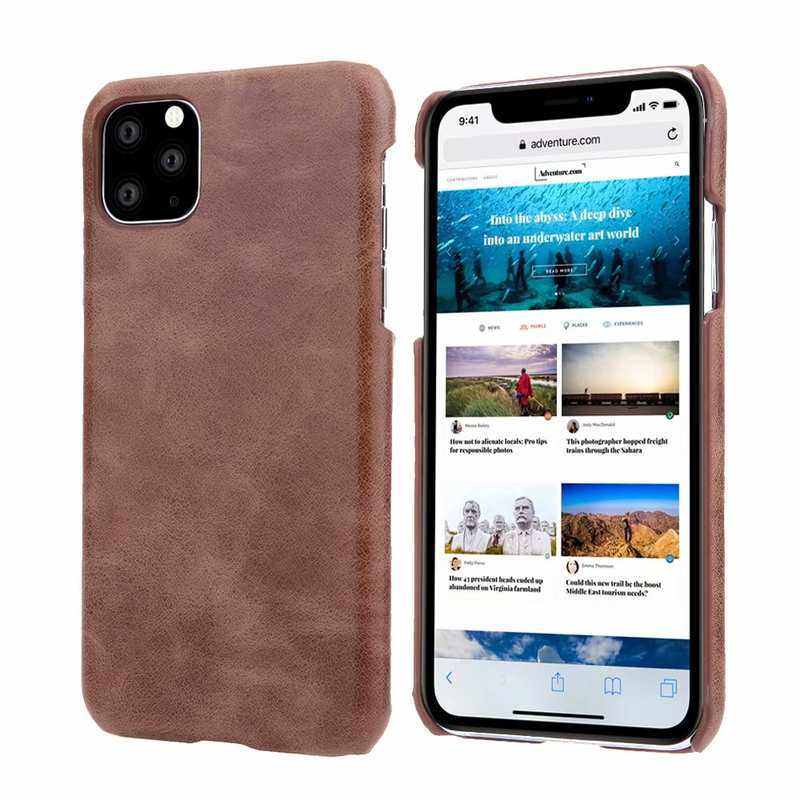 wholesale Matte Genuine Leather Back Case Cover for iPhone 11 Pro Max - Dark Brown