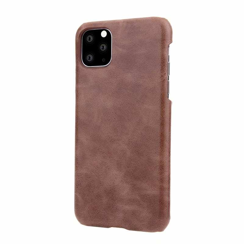 cheap Matte Genuine Leather Back Case Cover for iPhone 11 Pro Max - Dark Brown