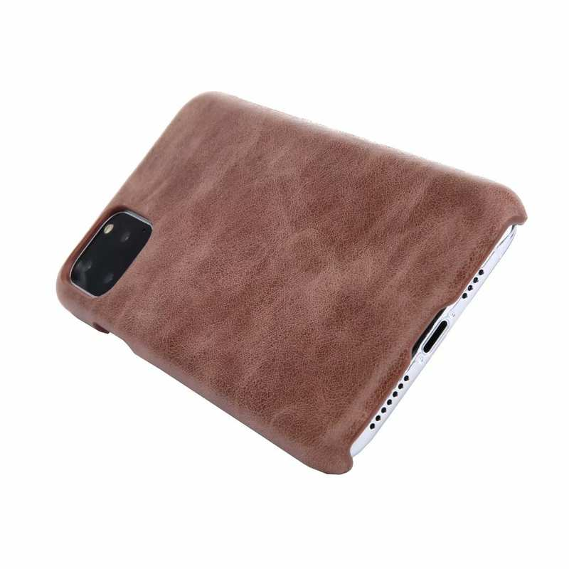 best price Matte Genuine Leather Back Case Cover for iPhone 11 Pro Max - Dark Brown