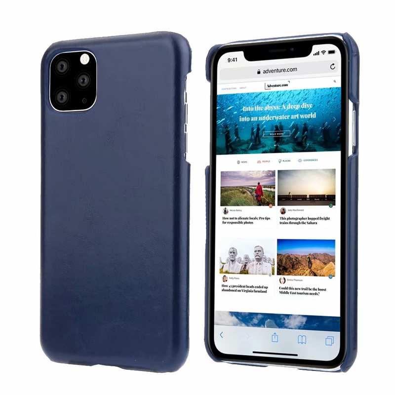 wholesale Matte Genuine Leather Back Case Cover for iPhone 11 Pro Max - Navy Blue