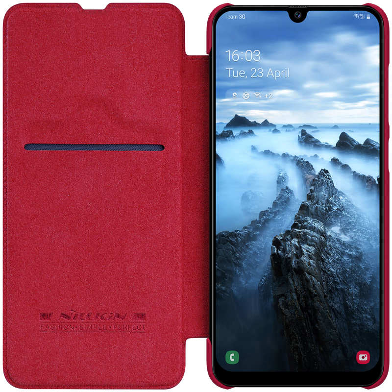on sale Nillkin Qin Series Flip Leather Card Slot Case Cover For Samsung Galaxy A70S - Red