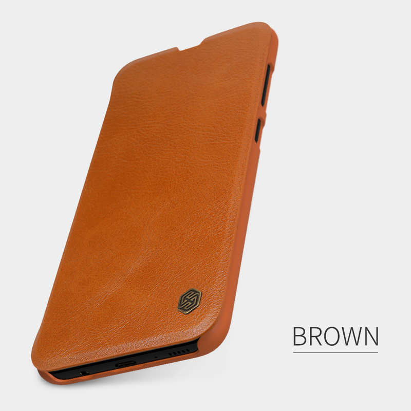 top quality Nillkin Qin Series Flip Leather Card Slot Case Cover For Samsung Galaxy A70S - Brown