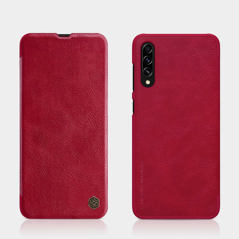 top quality Nillkin Qin Series Flip Leather Card Slot Case Cover For Samsung Galaxy A70S - Red