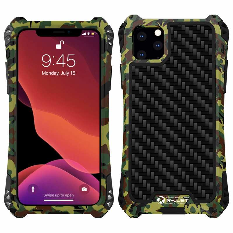wholesale R-JUST Aluminum Metal Carbon Fiber Shockproof Case for iPhone 11 Pro - Camouflage